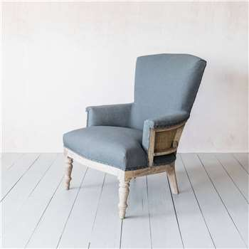 Deconstructed Grey Linen Armchair (H94 x W69 x D57cm)