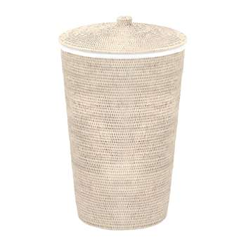 Decor Walther - Basket WB Laundry Basket - Round with Cloth Bag - Light Rattan (65 x 40cm)