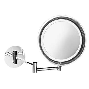 Decor Walther - BS 16 Cosmetic Mirror - Illuminated Chrome - 5x Magnification (19 x 19cm)