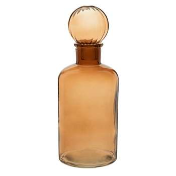 Decorative Brown Glass Flask (H22 x W8 x D8cm)