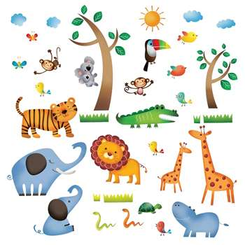 Decowall - Wild Jungle Animals Wall Stickers (Medium)