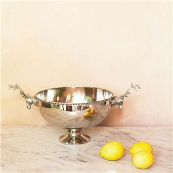 Deer Handle Silver Bowl (H25 x W52 x D30cm)