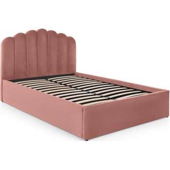 Delia King Size Bed Ottoman Storage, Blush Pink Velvet (H118 x W161 x D216cm)