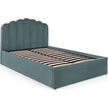 Delia King Size Bed with Ottoman Storage, Marine Green Velvet (H118 x W161 x D216cm)