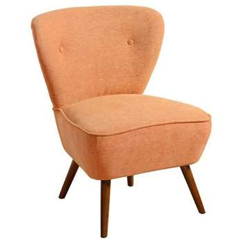 Delilah Burnt Orange Retro Occasional Chair - Walnut Legs (84 x 60cm)