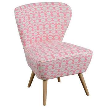 Delilah Coral Retro Occasional Chair with Natural Oak Legs (84 x 60cm)