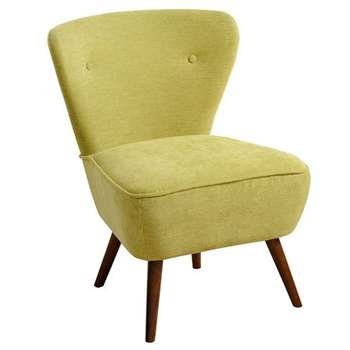 Delilah Lime Green Retro Occasional Chair - Walnut Legs (84 x 60cm)
