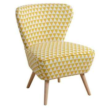 Delilah Yellow Check Retro Occasional Chair with Natural Oak Legs (84 x 60cm)