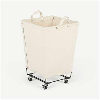 Dennie Large Canvas Square Laundry Cart, Black & Cream (H68 x W45 x D45cm)