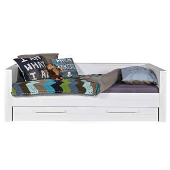 Dennis Day Bed with Trundle Drawer in White (73 x 219cm)