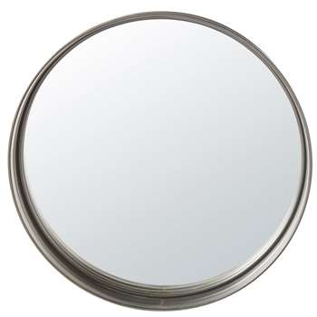 DENVER - Round Black Metal Mirror (Diameter 80cm)