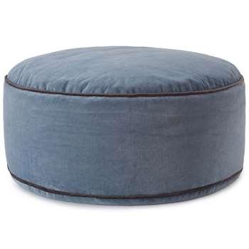 Deomali Velvet Pouf, Blue Grey (H25 x W75 x D75cm)