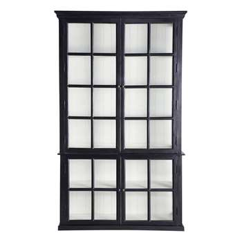 DESCARTES Mango wood bookcase in black (230 x 135cm)