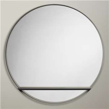 Design Project by John Lewis No.120 Circle Mirror With Shelf, Black (Diameter 82.5cm)