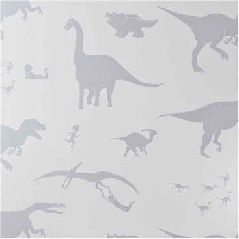 Designer Kids Wallpaper 'D'ya-think-e-saurus' in White