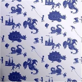 Designer Kids Wallpaper 'ere-be-dragons' in Blue