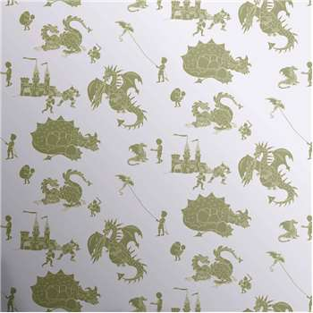 Designer Kids Wallpaper 'ere-be-dragons' in Green