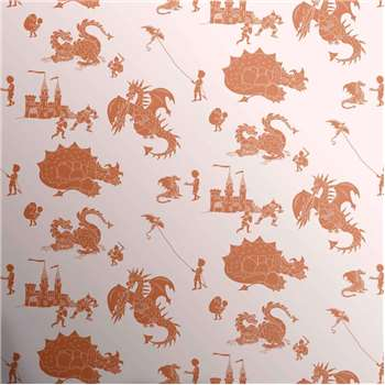 Designer Kids Wallpaper 'ere-be-dragons' in Orange