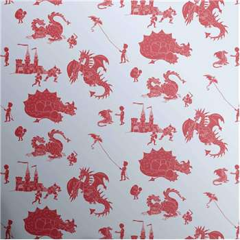 Designer Kids Wallpaper 'ere-be-dragons' in Red