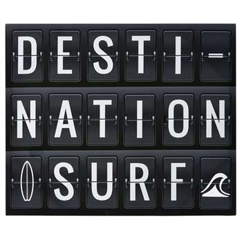 DESTINATION SURFING Printed Black and White Canvas (45 x 55cm)