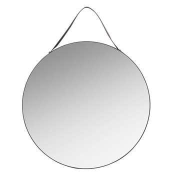 DEVAN Black Round Wall Mirror (Diameter 32.4cm)