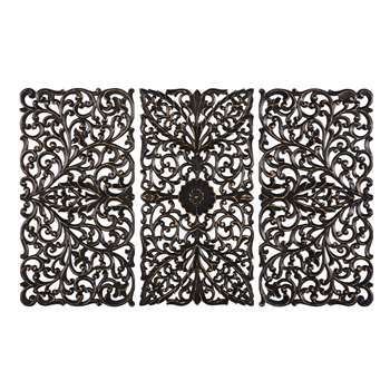 DHANBAD Black Sculpted Triptych (85 x 135cm)