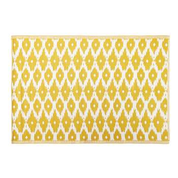 DHATU Yellow Outdoor Rug with White Graphic Print (H140 x W200cm)