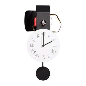 Diamantini & Domeniconi - Attimo Cucù Clock - Black/Red (H48 x W23 x D9.5cm)
