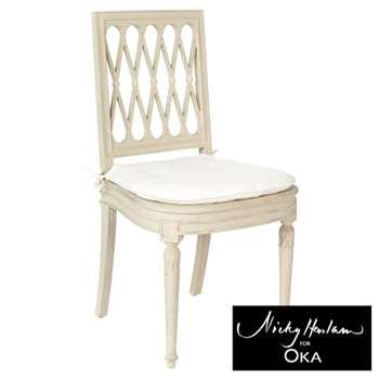Diamond Chair Cushion Cover and Pad - Off White (49 x 51cm)