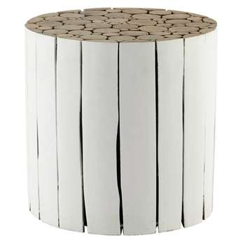 DIDDA wooden side table in white (41 x 41cm)