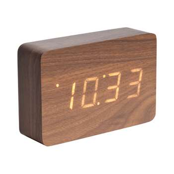 Digital alarm clock walnut (10 x 15cm)