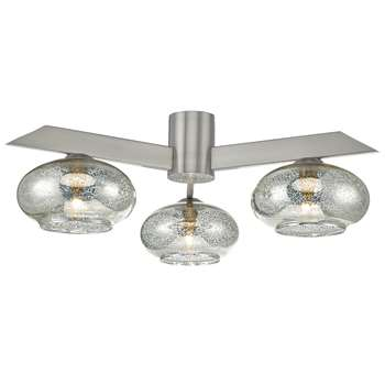 Dillan 3 Light Semi-Flush Ceiling Light Satin Nickel (H16 x W40 x D40cm)