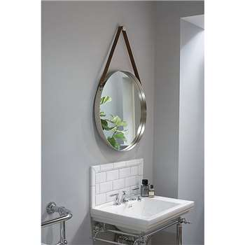 Dipre Wall Mirror brushed stainless steel (Diameter 60cm)