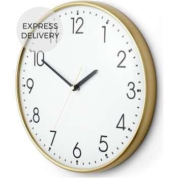 Disley Wall Clock, Polished Brass (Diameter 31cm)