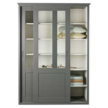 Woood - Vince Display Cabinet with Sliding Doors in Grey (H208 x W147 x D46cm)