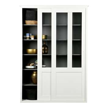 Display Cabinet with Sliding Doors in White 215 x 120cm