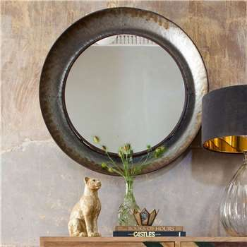 Distressed Round Mirror (H88 x W88 x D10cm)