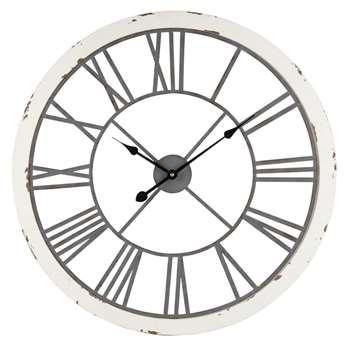 Distressed White and Grey Metal Clock (Diameter 67cm)