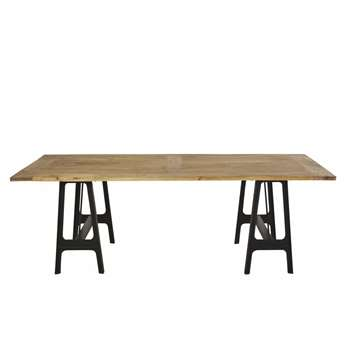 DISTRICT Cast Iron and Mango Wood 8-10 Seater Dining Table (H75 x W220 x D105cm)