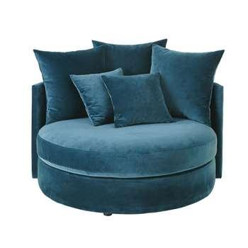 DITA Petrol Blue 1/2-Seater Round Velvet Sofa (H65 x W126 x D120cm)