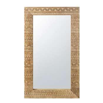 DIWALI Carved Mango Wood Mirror with Gold Finish (H122 x W71 x D3.5cm)