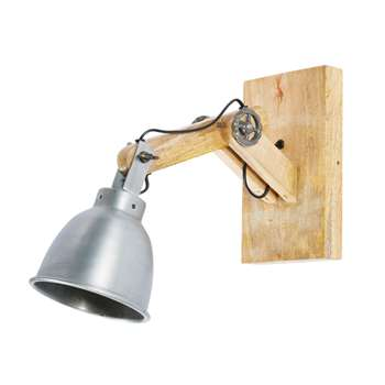 DOCKLAND Industrial-Style Metal and Mango Wood Adjustable Wall Lamp (H34 x W15 x D34.5cm)