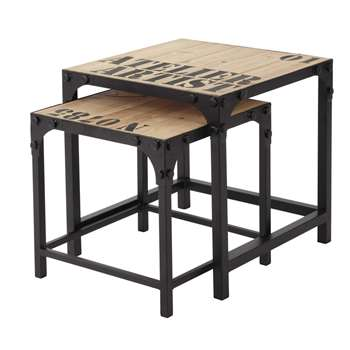 DOCKS 2 metal and wood industrial coffee tables (45 x 45cm)