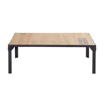 DOCKS - Black Metal and Solid Fir Coffee Table (H35 x W100 x D55cm)