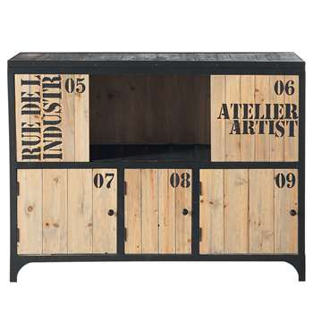 DOCKS Fir and Black Metal Industrial Sideboard (H84 x W110 x D46cm)