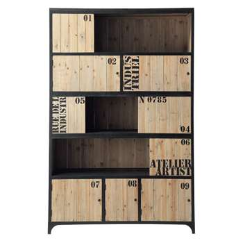 DOCKS Metal bookcase in black (Width 130cm)