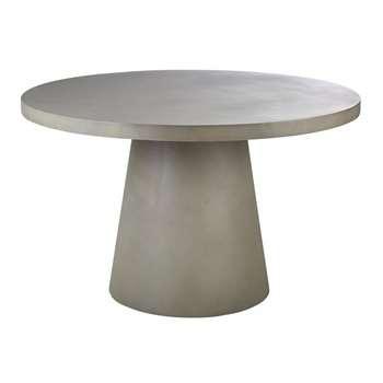 DOLMEN - Round Matte Concrete 5/6-Seater Garden Table (H75 x W120 x D120cm)