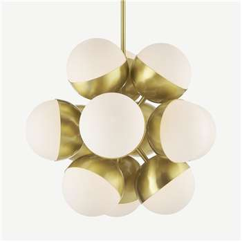 Donna Sputnik Pendant Lamp, Opal Glass & Brass (H75 x W50 x D50cm)