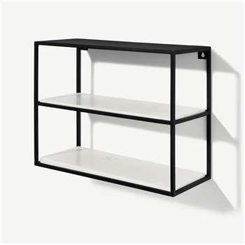 Dordie 2-Tier Wall-Mounted Storage Shelf Unit, Marble & Metal (H40 x W50 x D20cm)