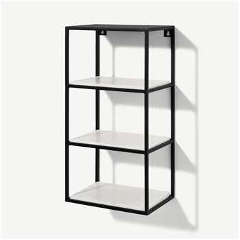 Dordie 4-Tier Wall-Mounted Storage Shelf Unit, Marble & Metal (H60 x W30 x D20cm)